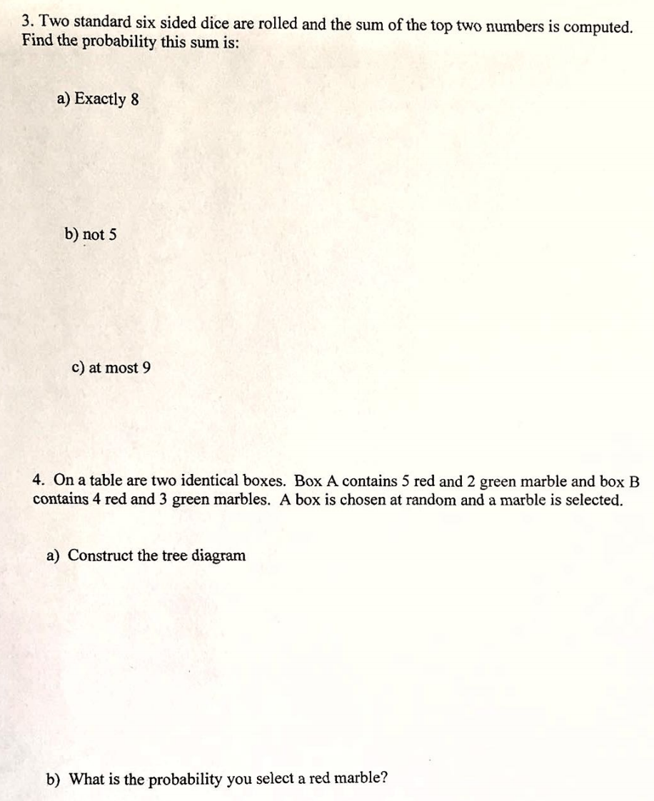 Solved two standard six sided dice are rolled and the sum question two standard six sided dice are rolled and the sum of the top two numbers is computed find the p ccuart Gallery