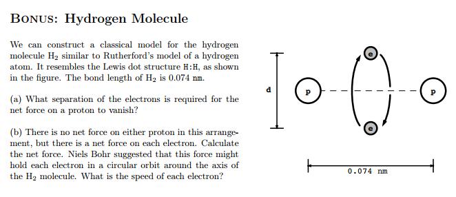 Solved Bonus Hydrogen Molecule We Can Construct A Classi