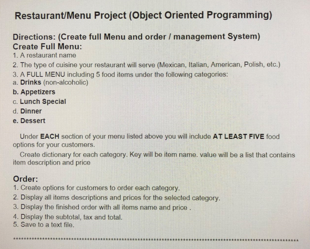 solved restaurant menu project object oriented programmi