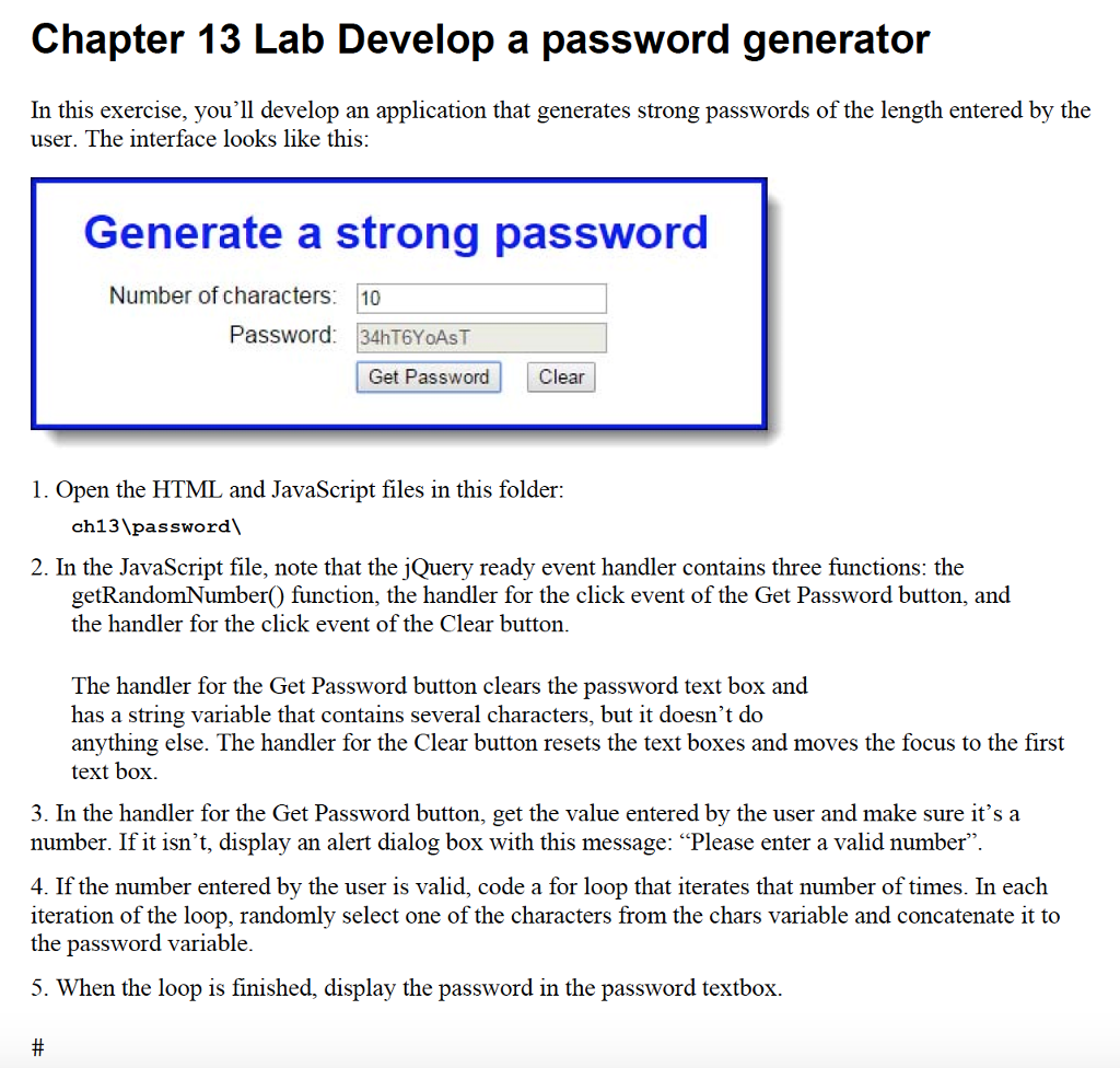 Solved: Index html Password Generator Generate A Strong Pa