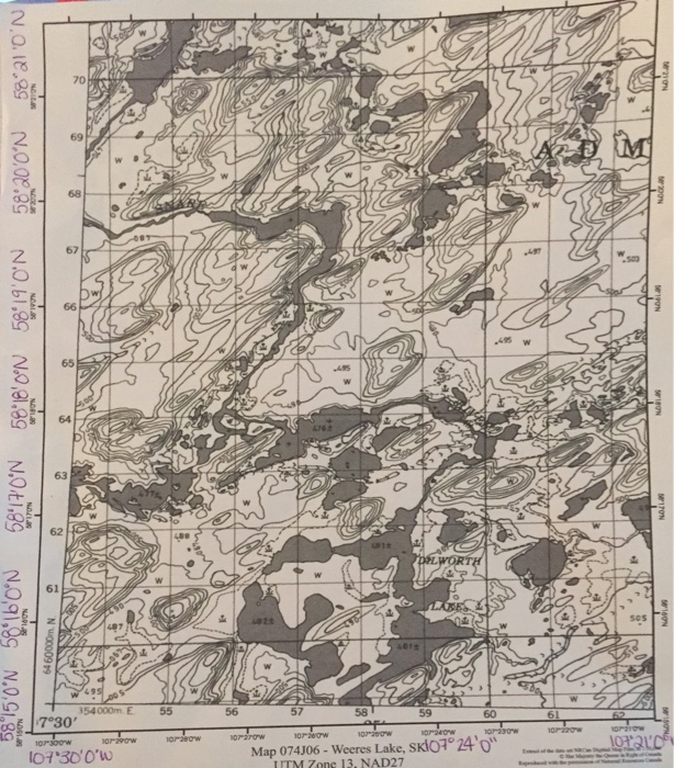 A)this 1:500,000 Topographic Map Has A Contour Int ...