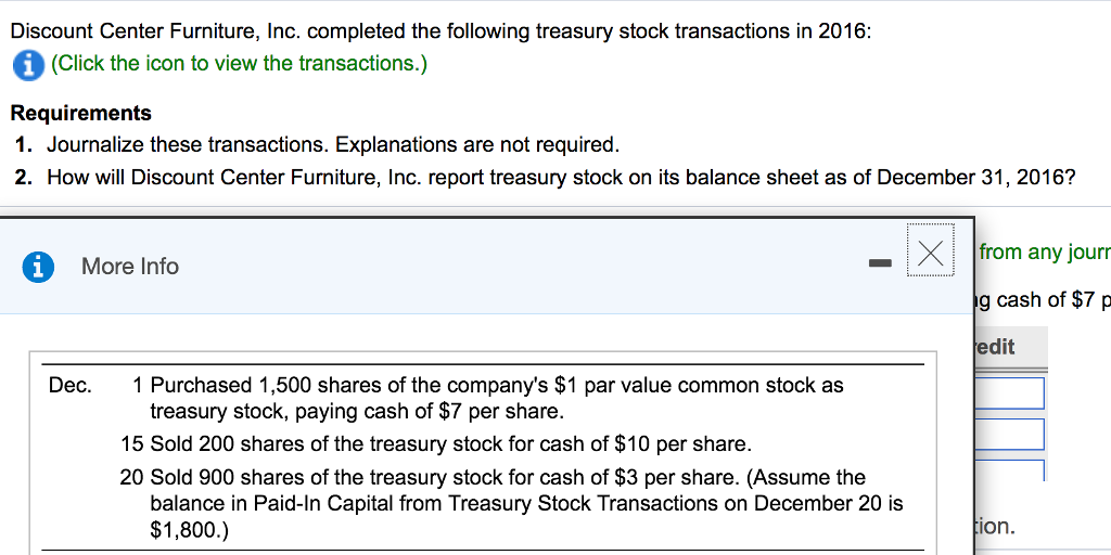 Discount Center Furniture, Inc. Completed The Following Treasury Stock  Transactions In 20 (Click