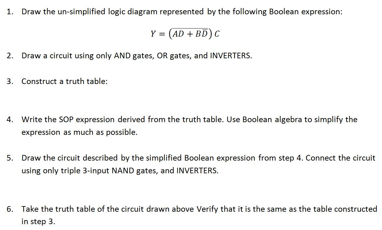 Solved Draw The Un Simplified Logic Diagram Represented B For Boolean Expression