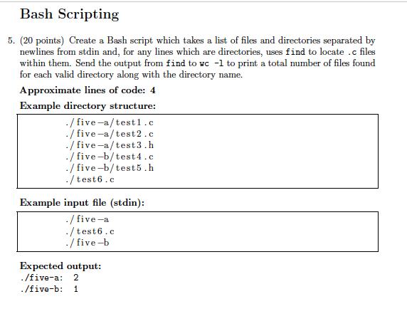 Bash Scripting 5. (20 Points) Create A Bash Script... | Chegg.com