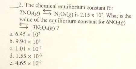 Solved: 2  The Chemical Equilibrium Constant For 2NO2(g) N