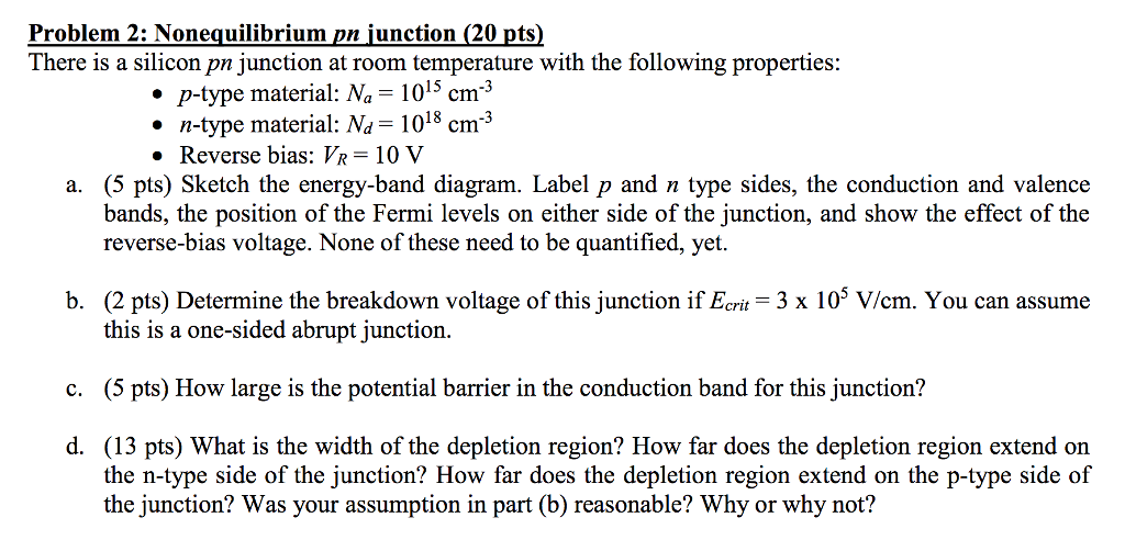 Solved Problem 2 Nonequilibrium Pn Unction 20 Pts The