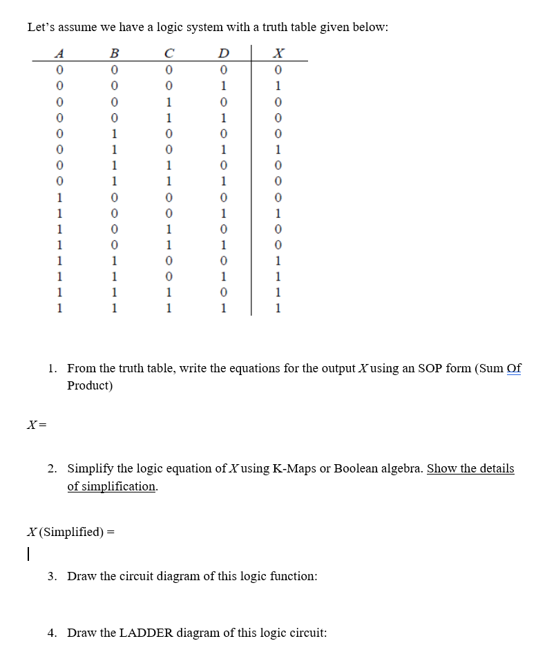Lets assume we have a logic system with a truth table given below: 1. From the truth table, write the equations for the output Xusing an SOP form (Sum Of Product) Simplify the logic equation of Xusing K-Maps or Boolean algebra. Show the details of simplification. 2. X (Simplified) 3. Draw the circuit diagram of this logic function: 4. Draw the LADDER diagram of this logic circuit