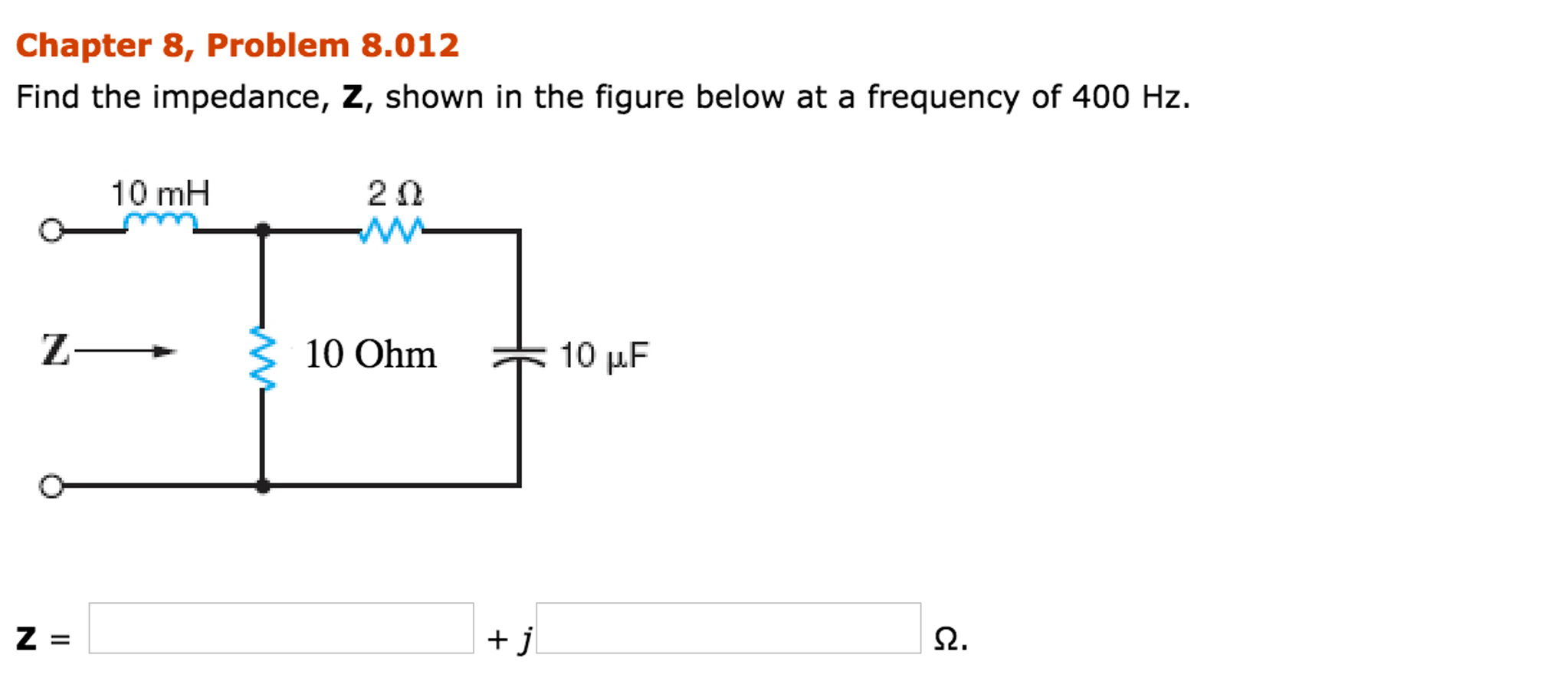 Electrical engineering archive november 20 2016 chegg chapter 8 problem 8012 find the impedance z sh fandeluxe Image collections