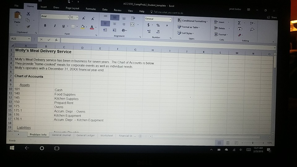 ACC1010 CompProb2 Student template Excel janet barber