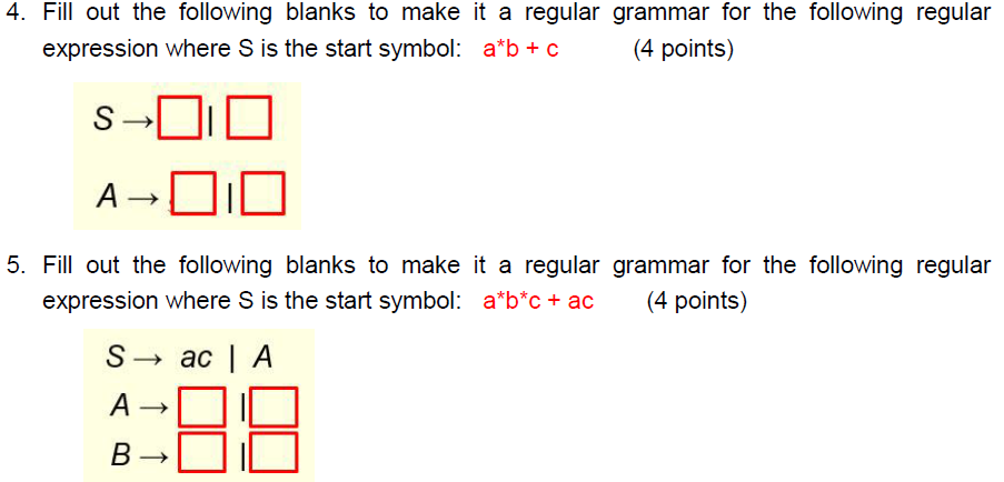 Solved Fill Out The Following Blanks To Make It A Regular