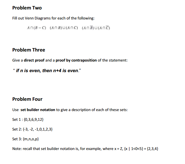 Solved Problem Two Fill Out Venn Diagrams For Each Of The