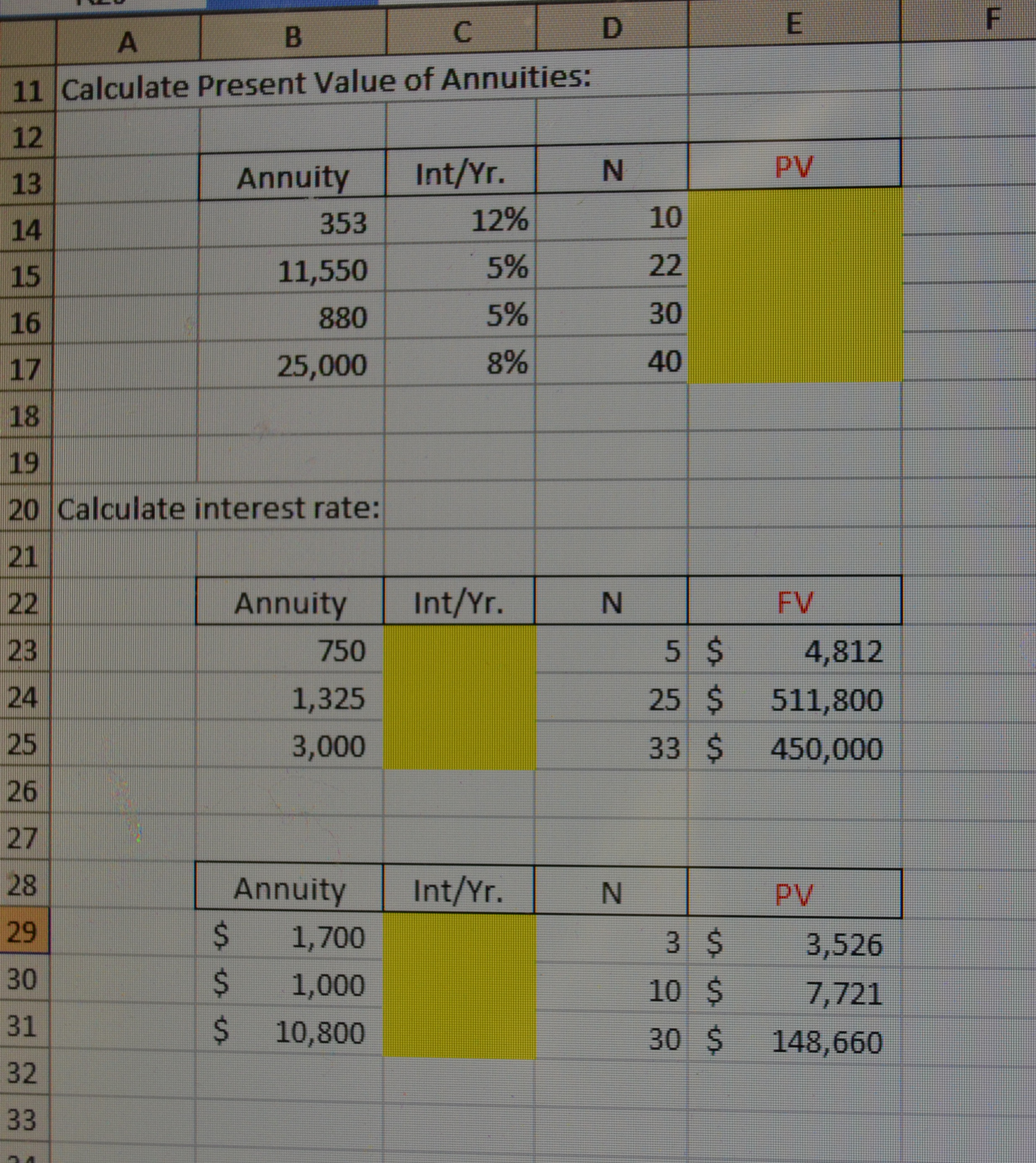 solved calculate present value of annuities calculate in