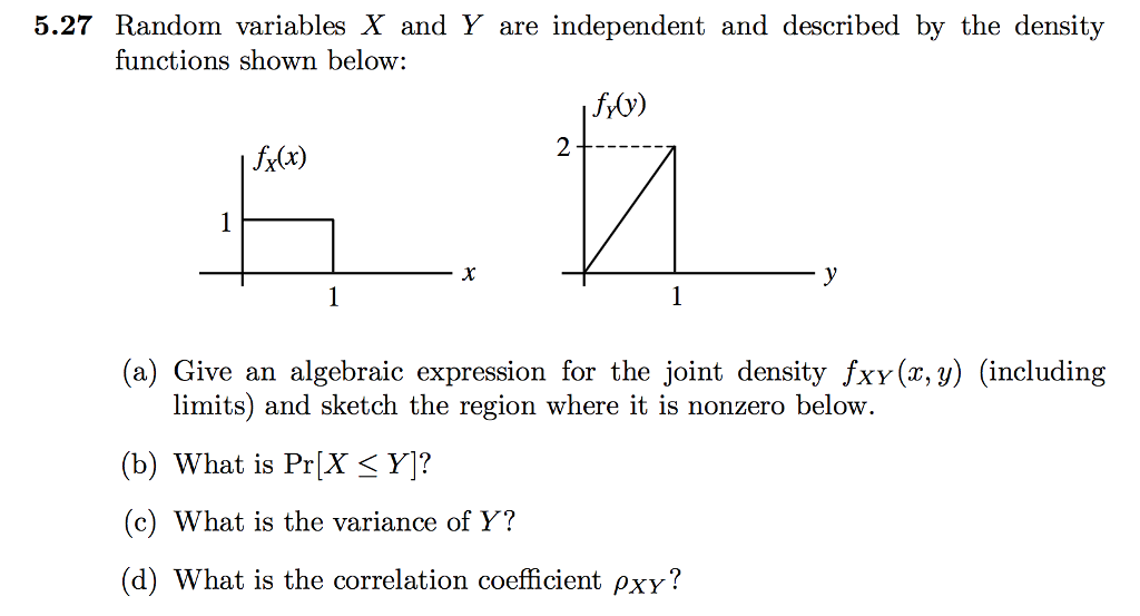 Solved random variables x and y are independent and descr 527 random variables x and y are independent and described by the density functions shown below ccuart Choice Image