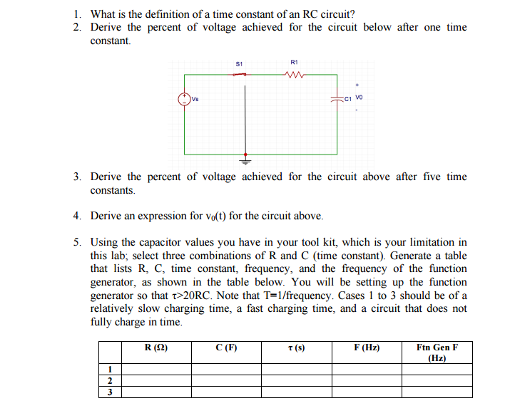 Solved What Is The Definition Of A Time Constant Of An Rc