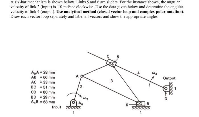 Solved: A Six-bar Mechanism Is Shown Below  Links 5 And 6