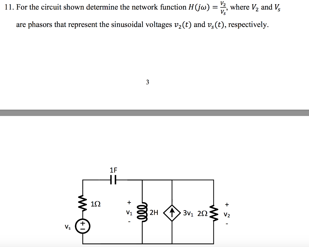 solved 11 for the circuit shown determine the network fu