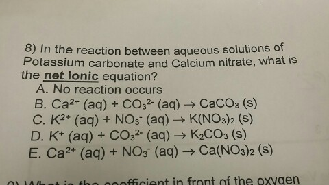 Solved In The Reaction Between Aqueous Solutions Of Potas