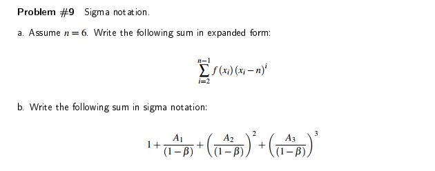 Solved M9 Sigma Notation A Assume N6 Write The Follow
