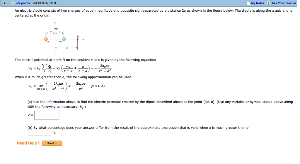 Solved An Electric Dipole Consists Of Two Charges Of Equa