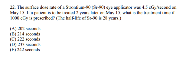 The Surface Dose Rate Of A Strontium 90 Sr