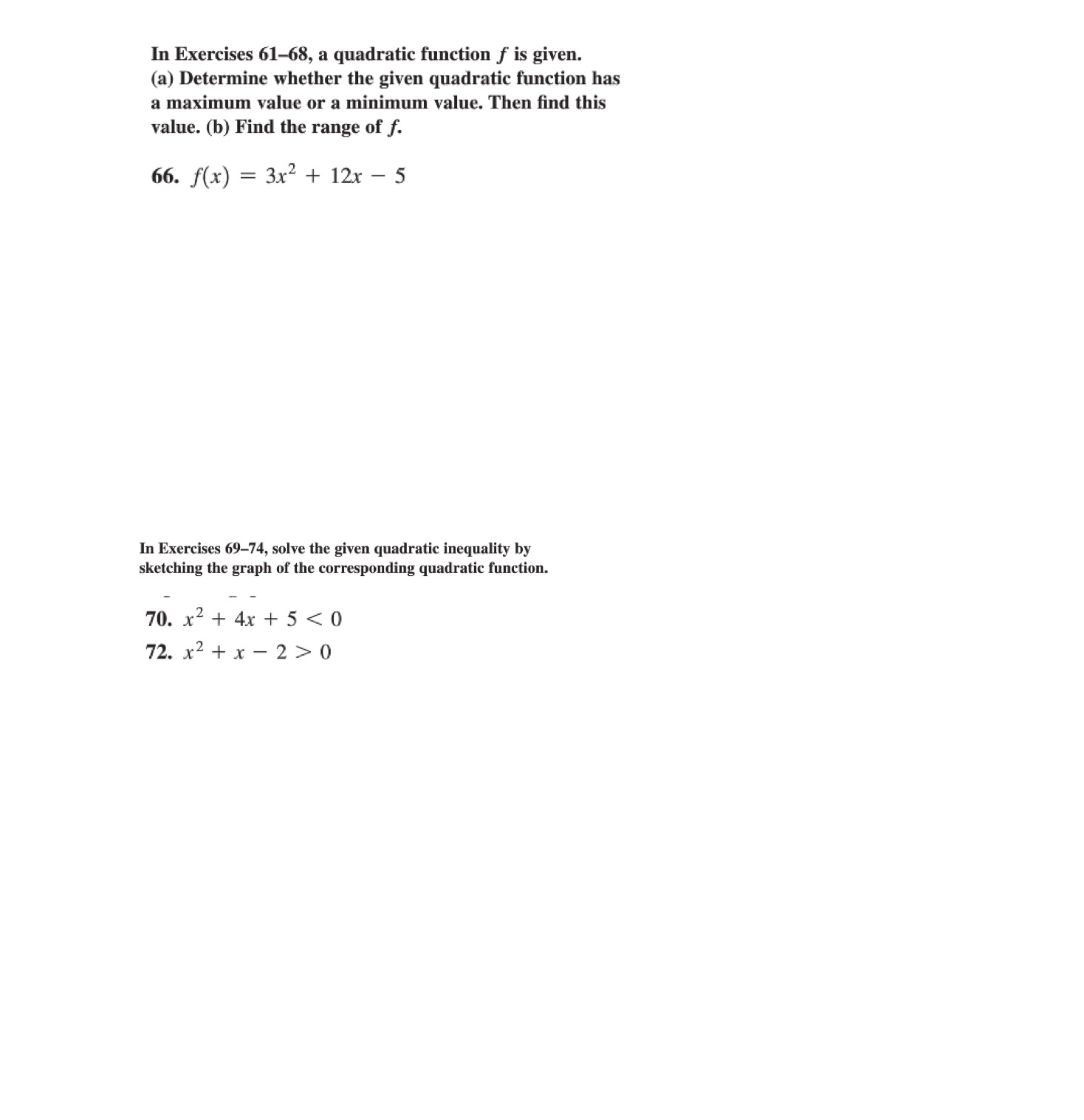 Solved: In Exercises 61-68, A Quadratic Function / Is Give