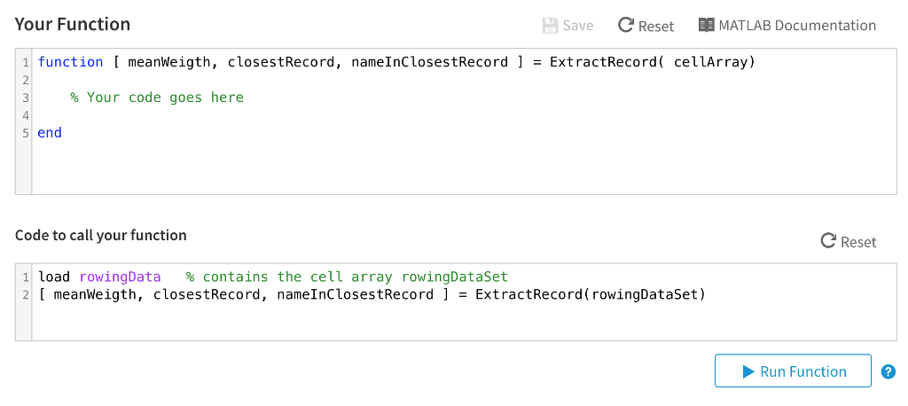 Solved: Cell Arrays The Cell Array RowingDataSet, Which Is