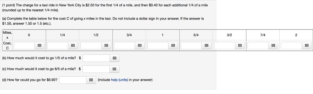 How Much Is A Mile >> Solved 1 Point The Charge For A Taxi Ride In New York C