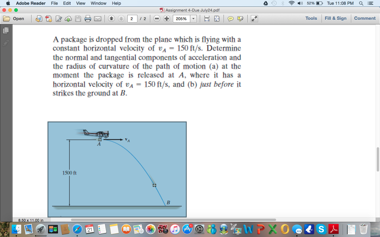 Solved: A Package Is Dropped From The Plane Which Is Flyin ...