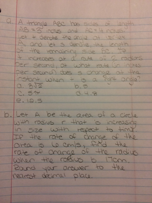 A Triangle Abc Has Sides Of Length Ab 3 Inches A