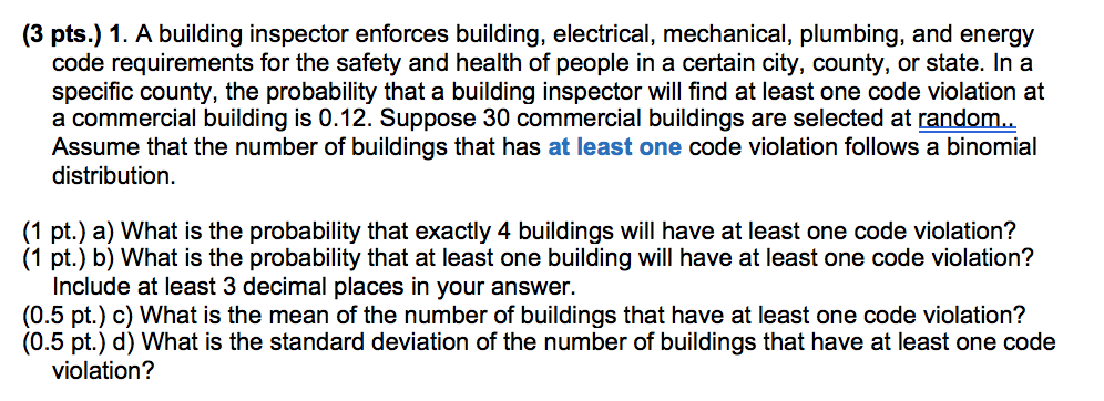 Solved: A Building Inspector Enforces Building, Electrical ...