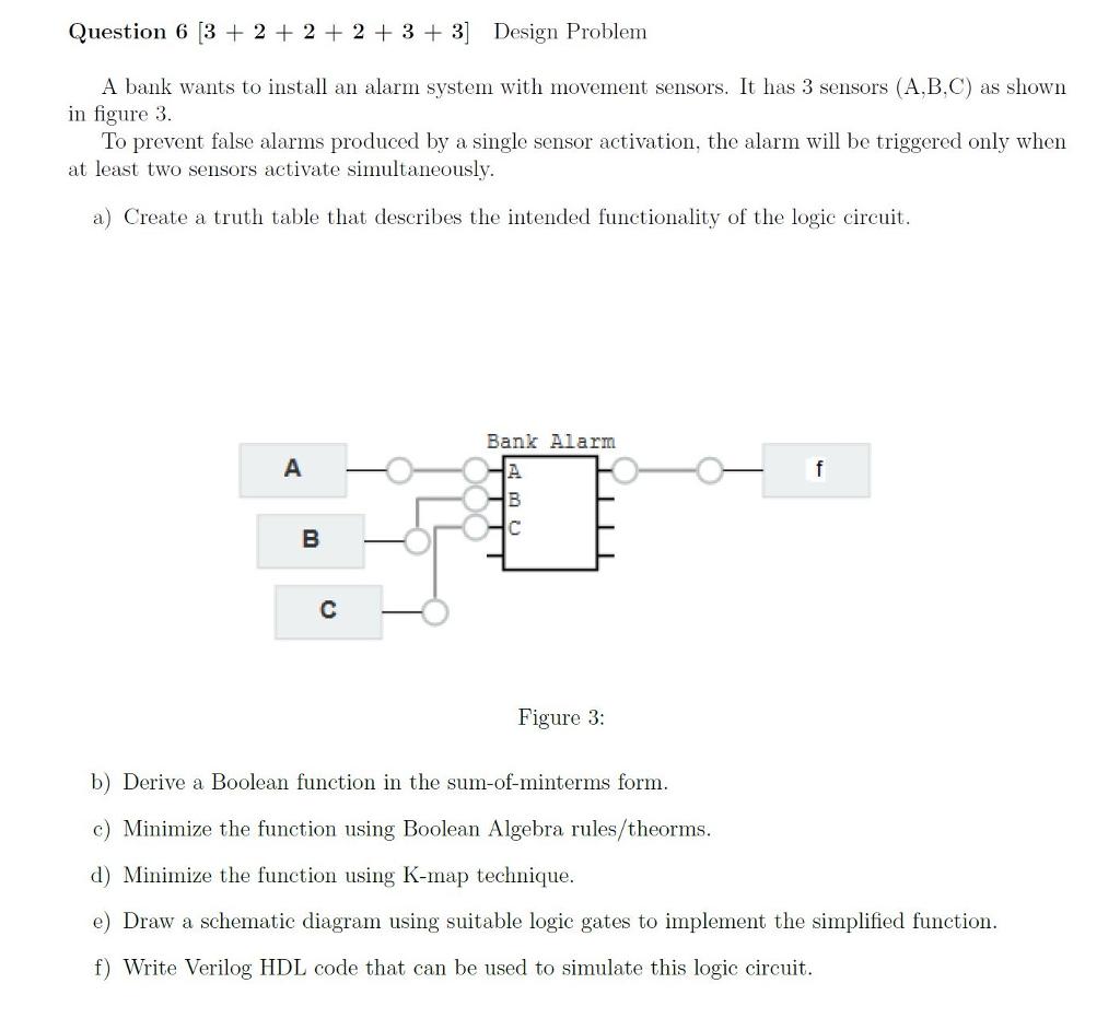 Solved Question 6 3 2 33 Design Problem A Bank Want K Map Circuit Diagram Wants