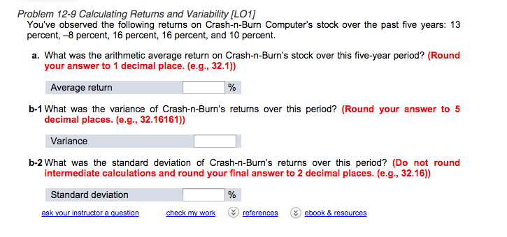 Solved: Problem 12-9 Calculating Returns And Variability