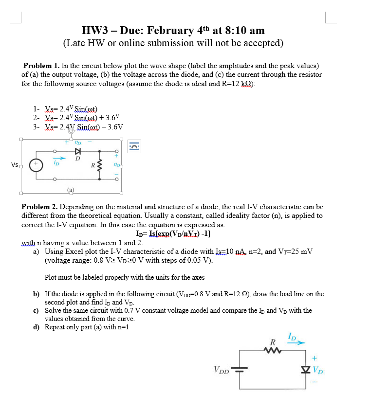 Solved: HW3 – Due: February 4th At 8:10 Am (Late HW Or Onl ...