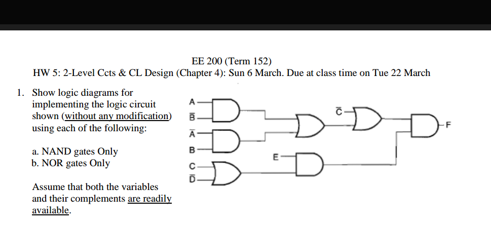 Solved Show Logic Diagrams For Implementing The Logic Cir