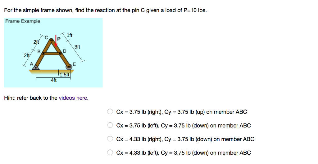 For the simple frame shown, find the reaction at the pin C given a load