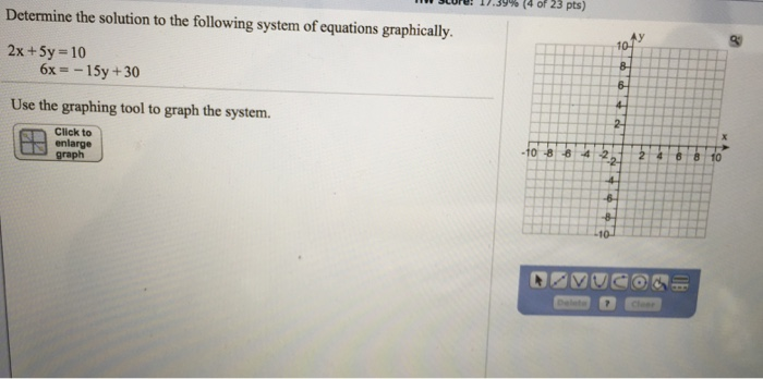 Image for Determine the solution to the following system of equation graphically. 2x+5y=10 6x=-15y+30 Use the graphing t