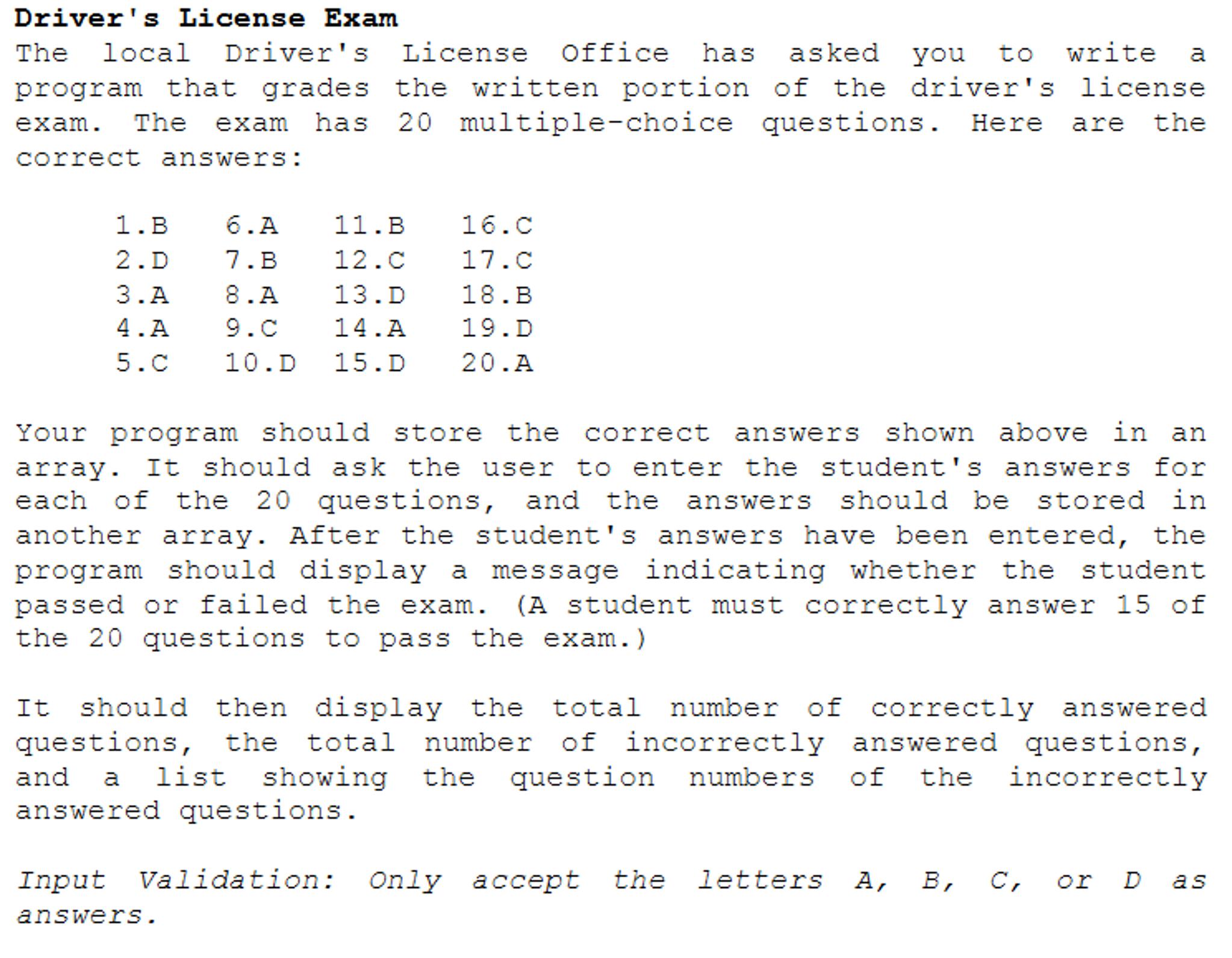 Driver's License Exam The Local Driver's License O      Chegg com