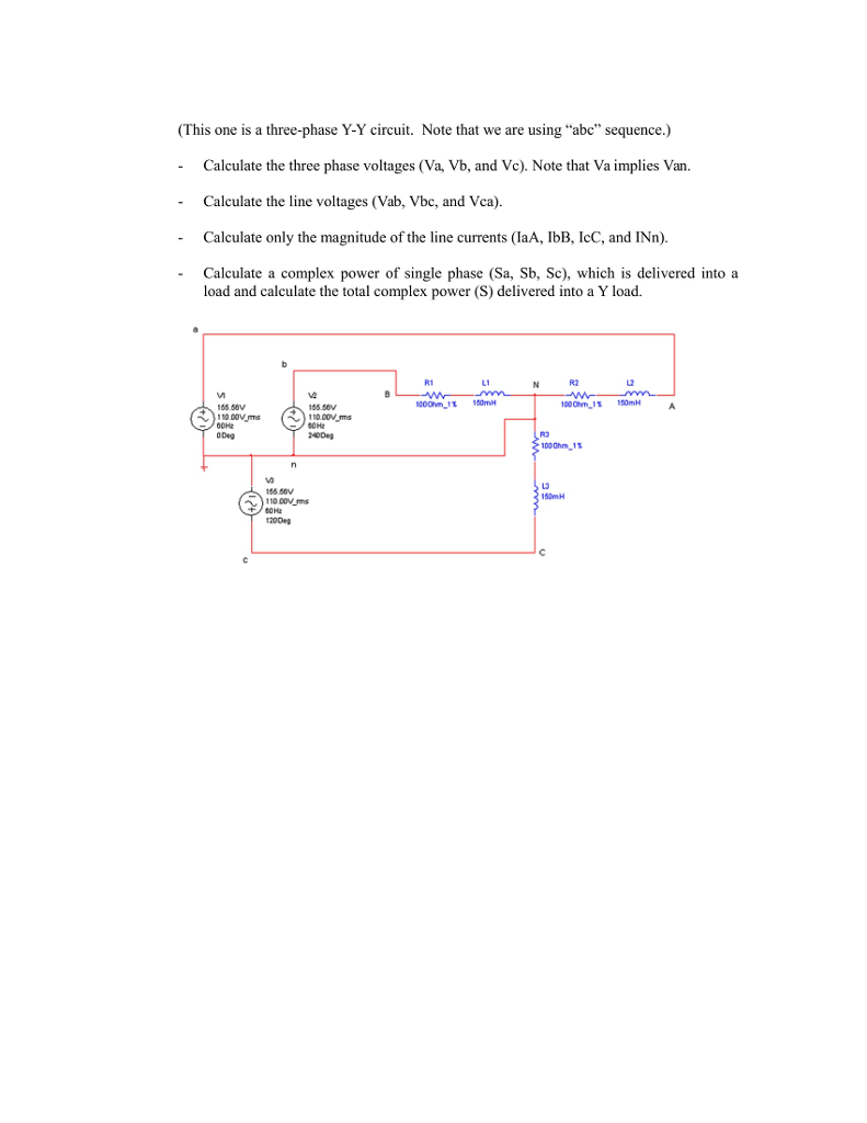 Solved: Calculate The Three Phase Voltages (Va, Vb, And Vc