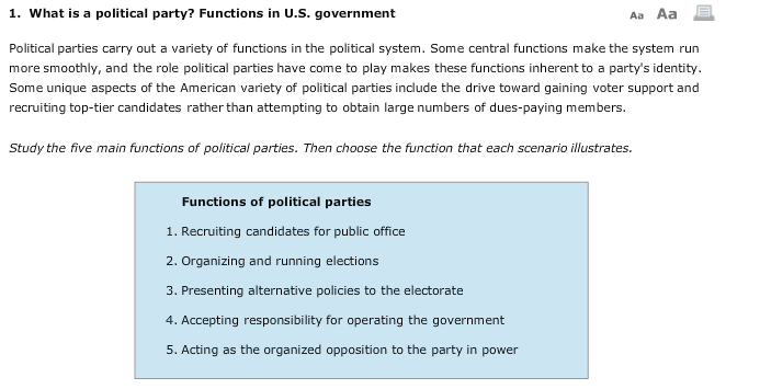 5 major functions of political parties