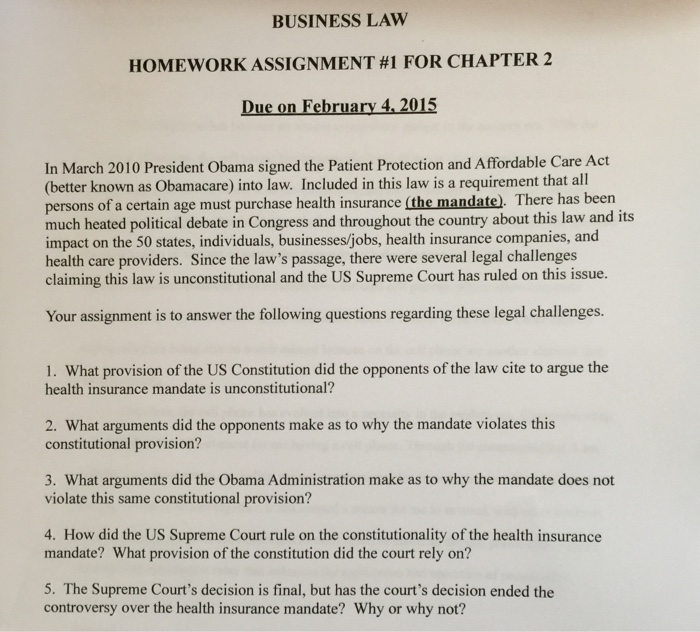 business law homework 2
