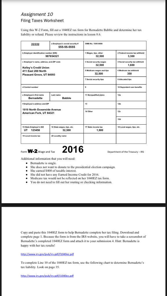 Solved Assignment 10 Filing Taxes Worksheet Using This W