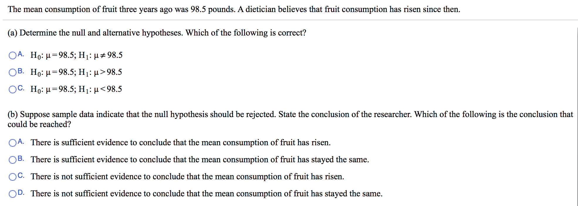 Statistics and probability archive november 30 2015 chegg the mean consumption of fruit three years ago was 985 pounds a dietician believes that biocorpaavc