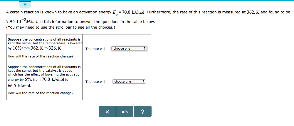 activation energy rate of reaction