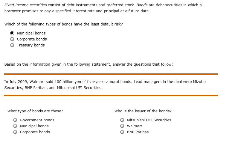 solved fixed income securities consist of debt instrument