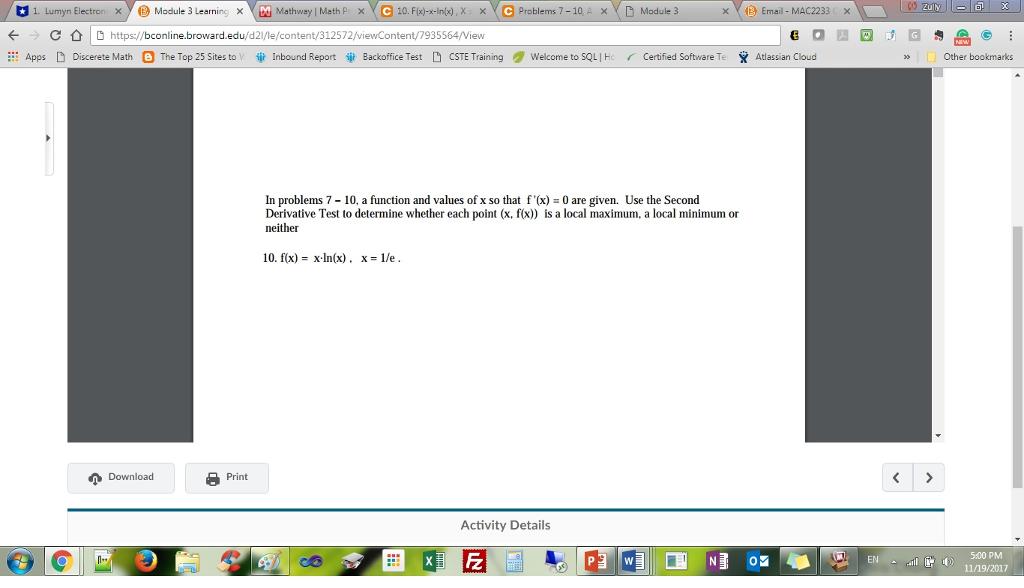 Solved: L X 1. U Myn Electron ×y D Module 3 Learninc ×Yut ...
