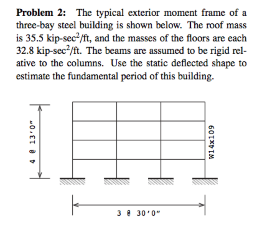 Solved: Problem 2: The Typical Exterior Moment Frame Ofa T ...