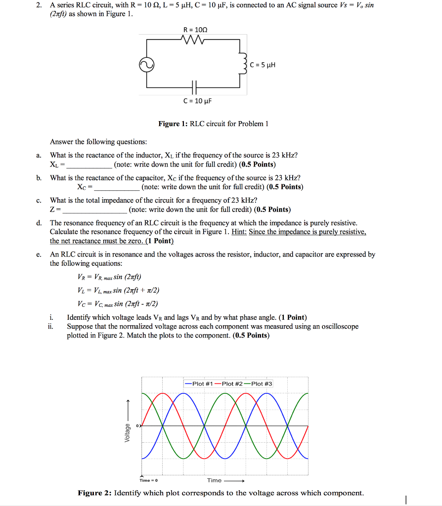 Solved 2 A Series Rlc Circuit With R 10 L 5 H C Resistorinductor Circuits Reactance And Impedance Inductive