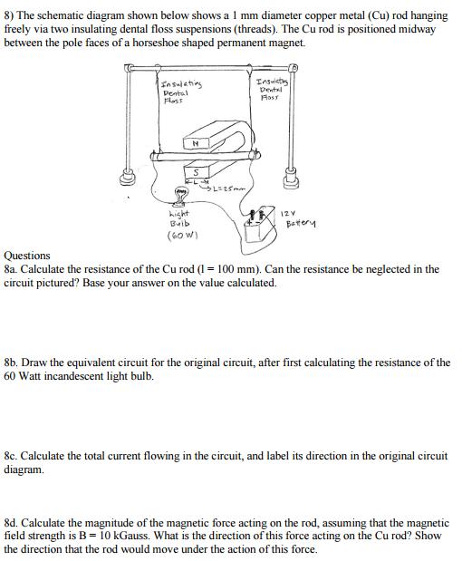 solved the schematic diagram shown below shows a 1 mm dia8) the schematic diagram shown below shows a 1 mm diameter copper metal (cu