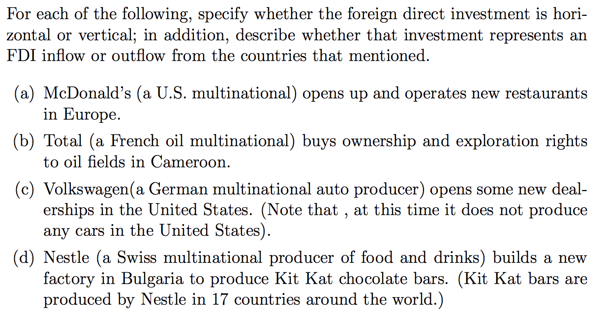 horizontal and vertical foreign direct investment