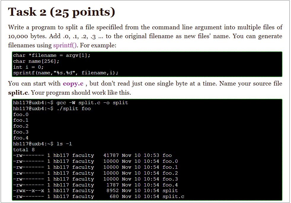 Solved Task 2 25 Points Write A Program To Split A File
